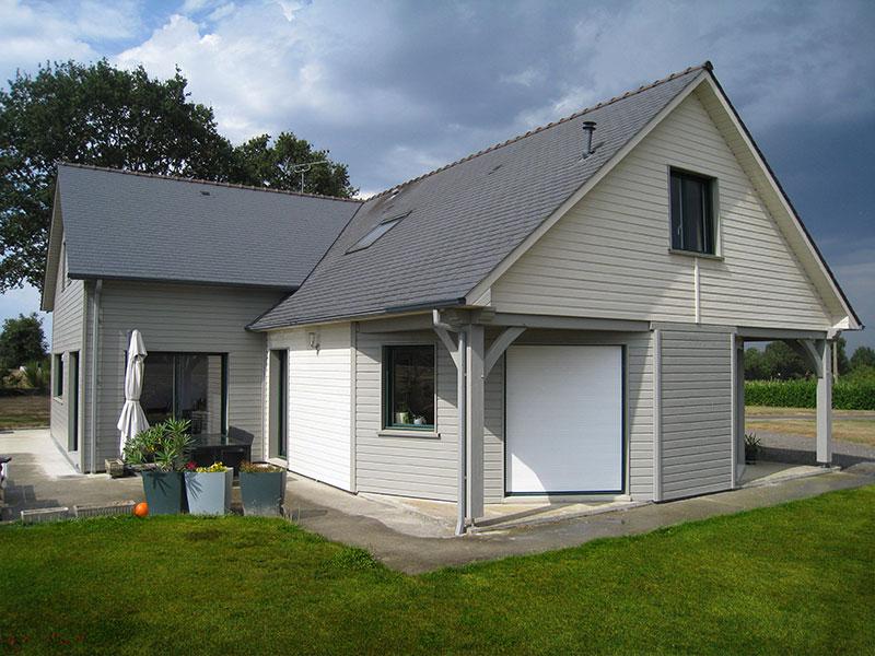 maison ossature bois bardage bi-colore