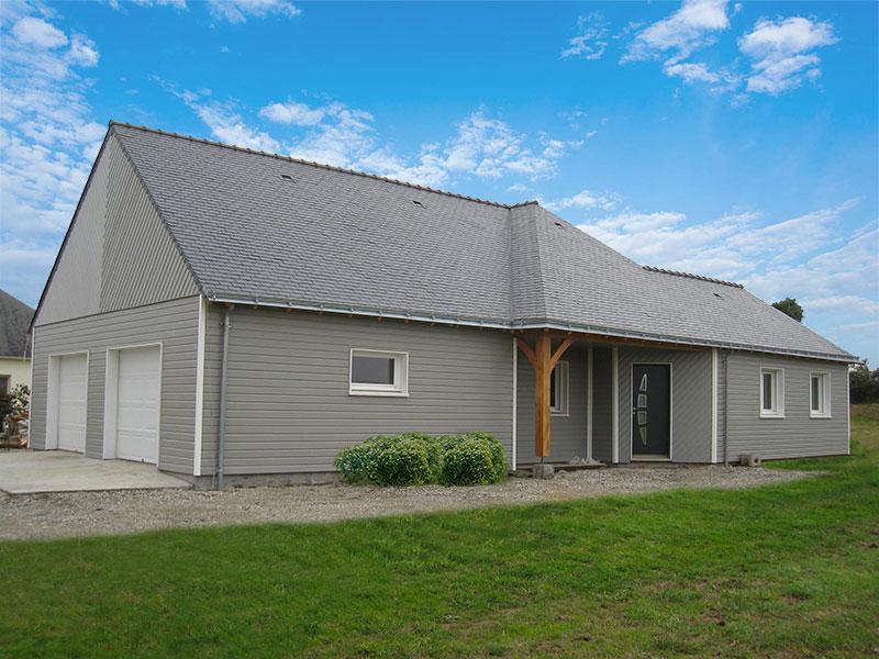 maison bois double garage en pignon
