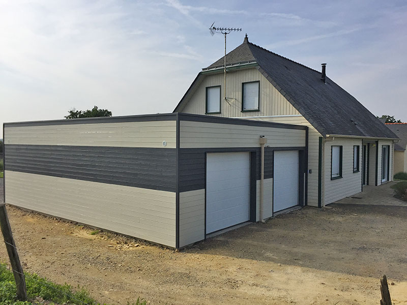 maison ossature bois bi-colore double garages